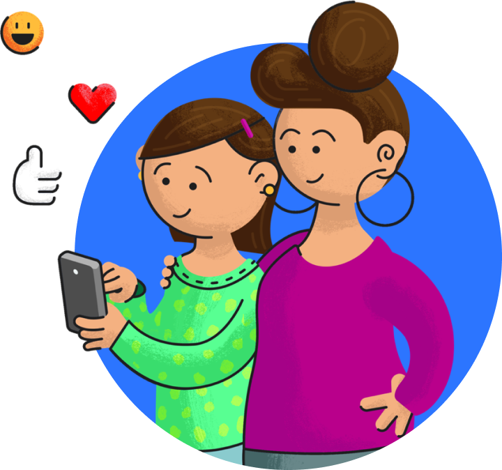 Illustration of a parent with arm around their child who is using a phone.