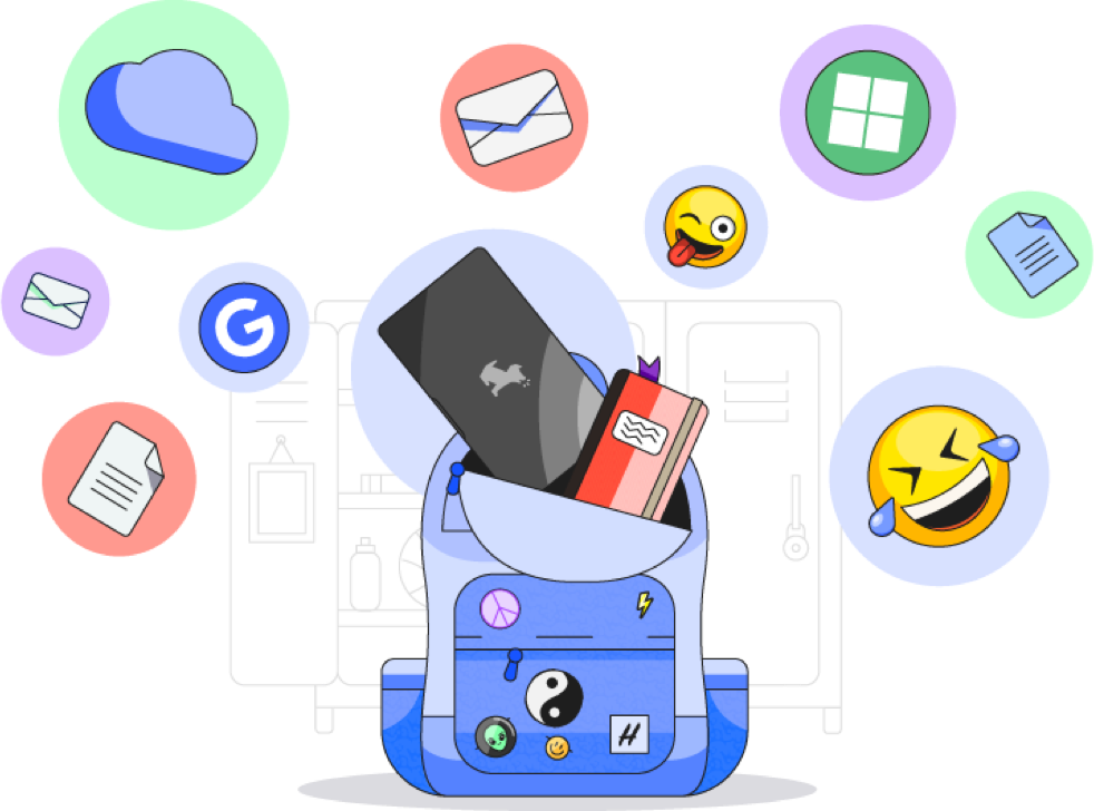 Illustration of a backpack containing an electronic device surrounded by web related content
