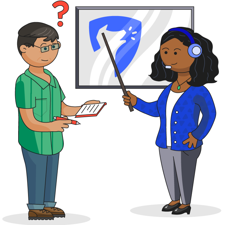 Illustration of a teacher instructing a man who has questions