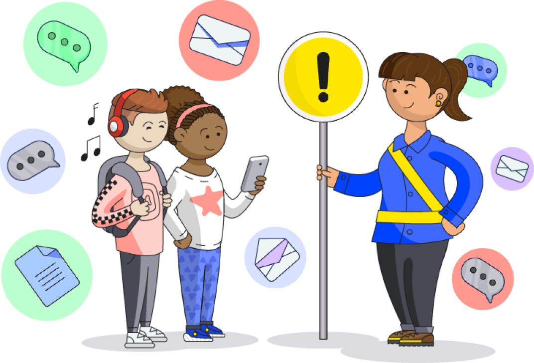 Illustration of a crossing guard holding a sign up to help two kids navigate the online world