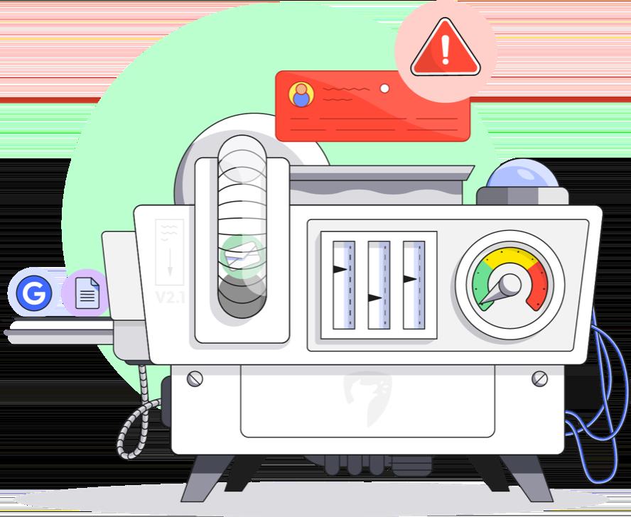 Illustration of a machine analyzing internet traffic