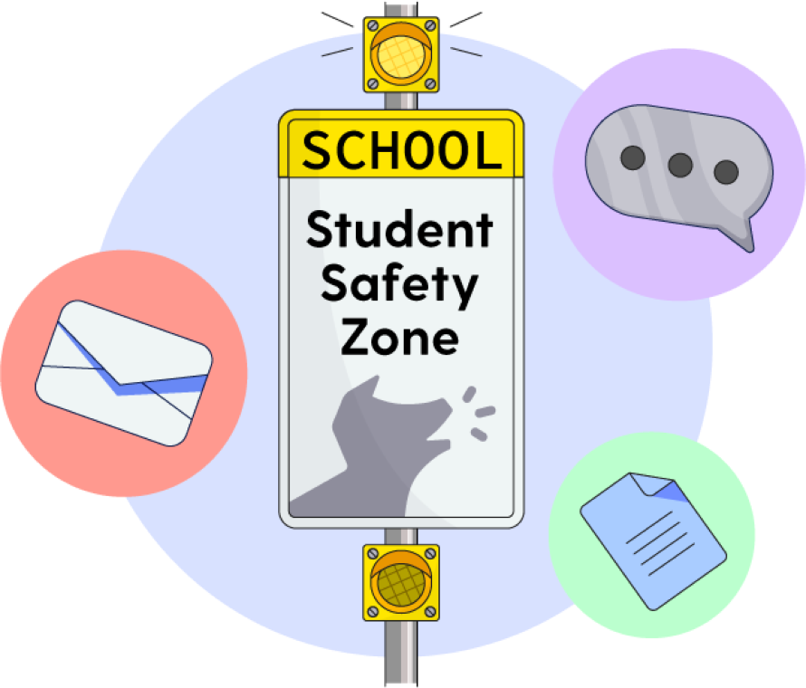 Illustration of a school safty zone sign