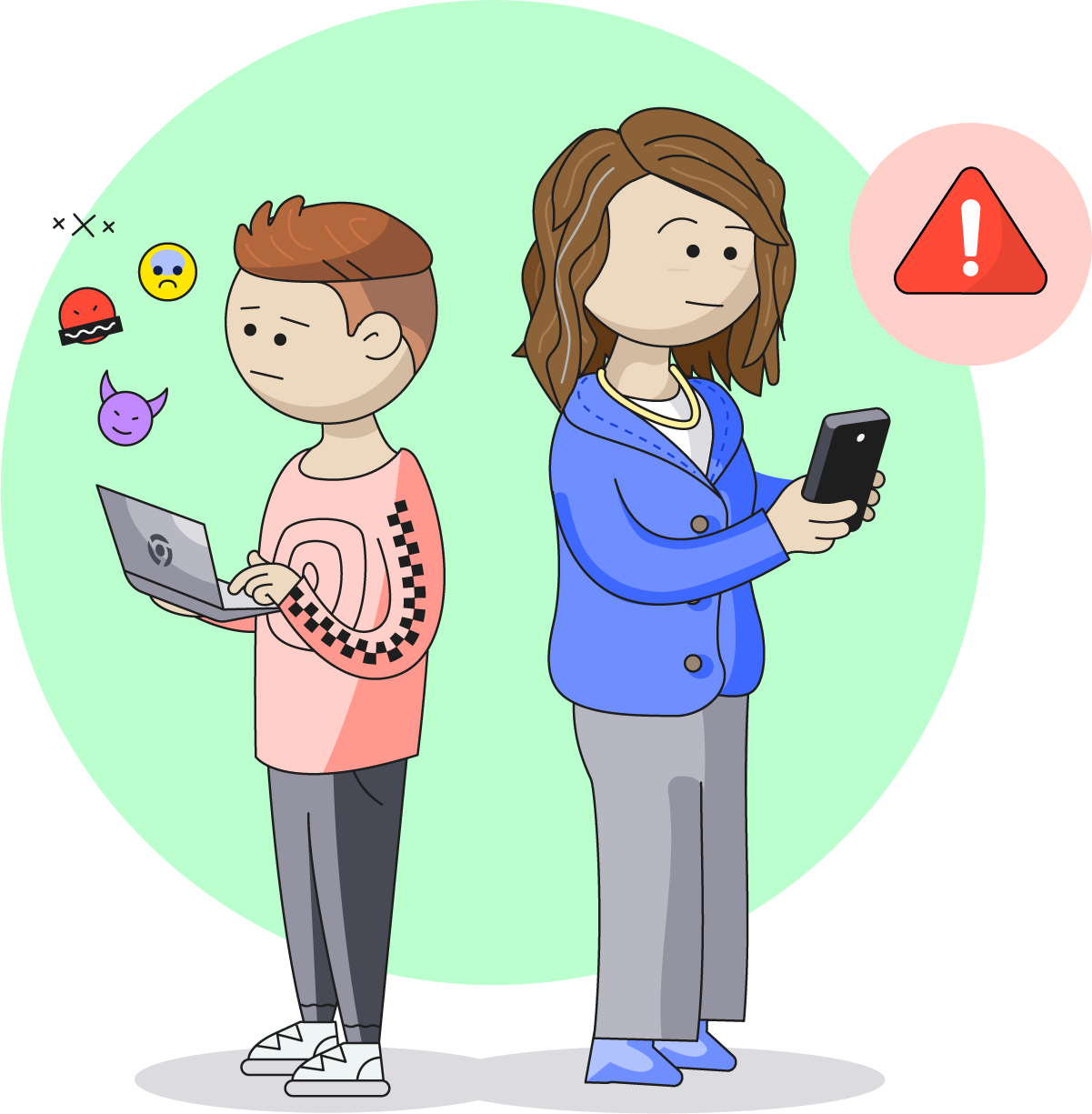 Illustration of a parent getting an alert about their child's online activity