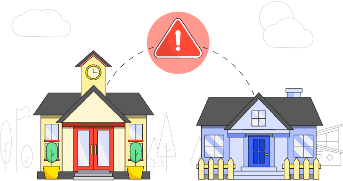Illustration of a school and home sharing information