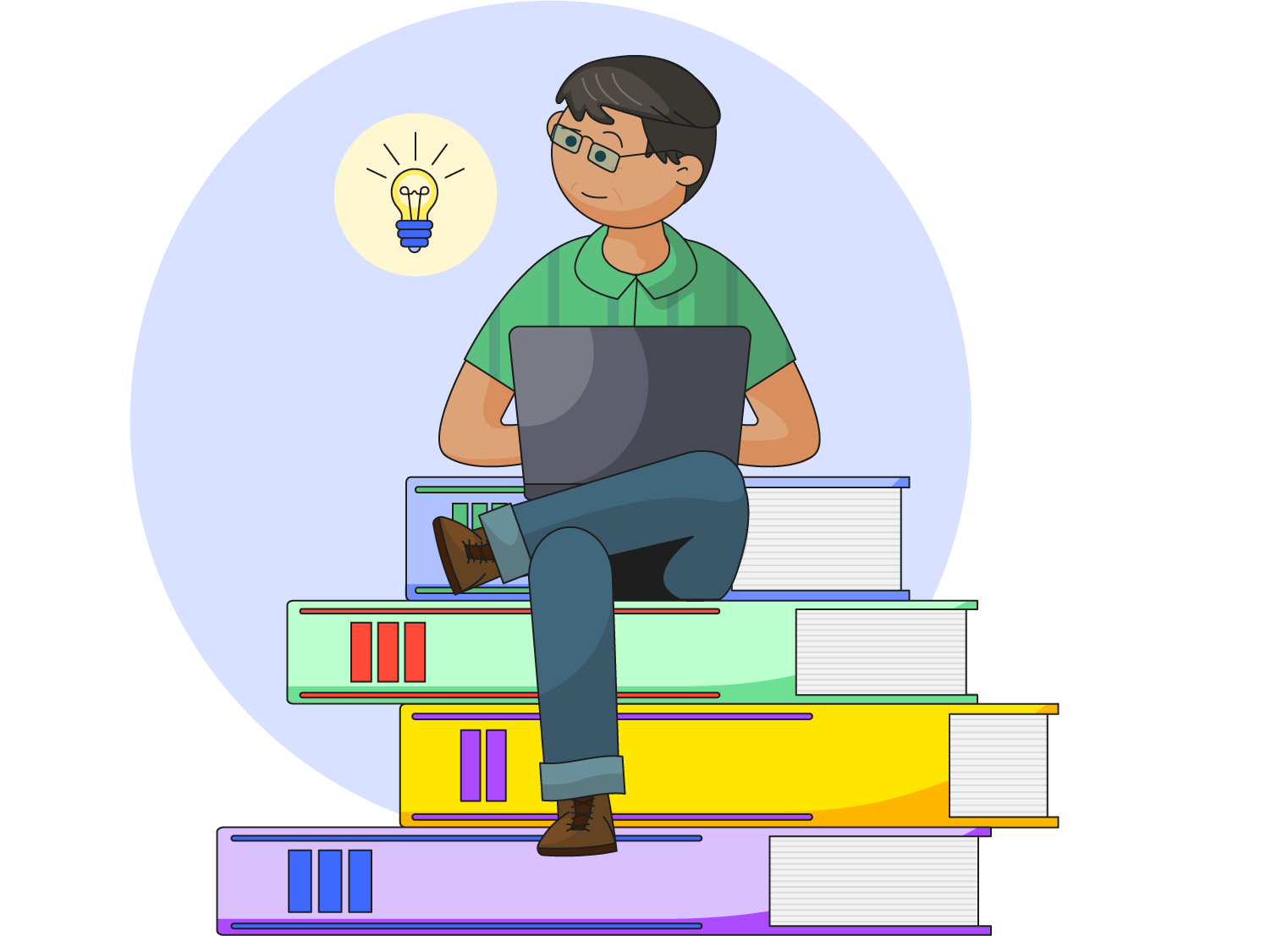 Illustration of a man with a laptop sitting on a pile of oversized books