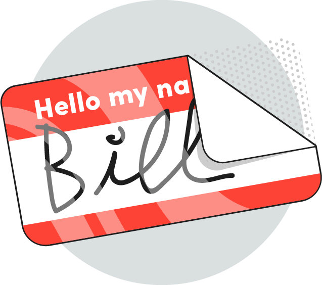 Illustration of a hello nametag