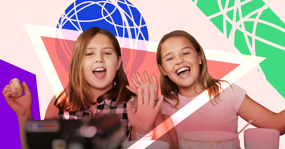 Two kids filming a YouTube video in front of a colorful, geometric background