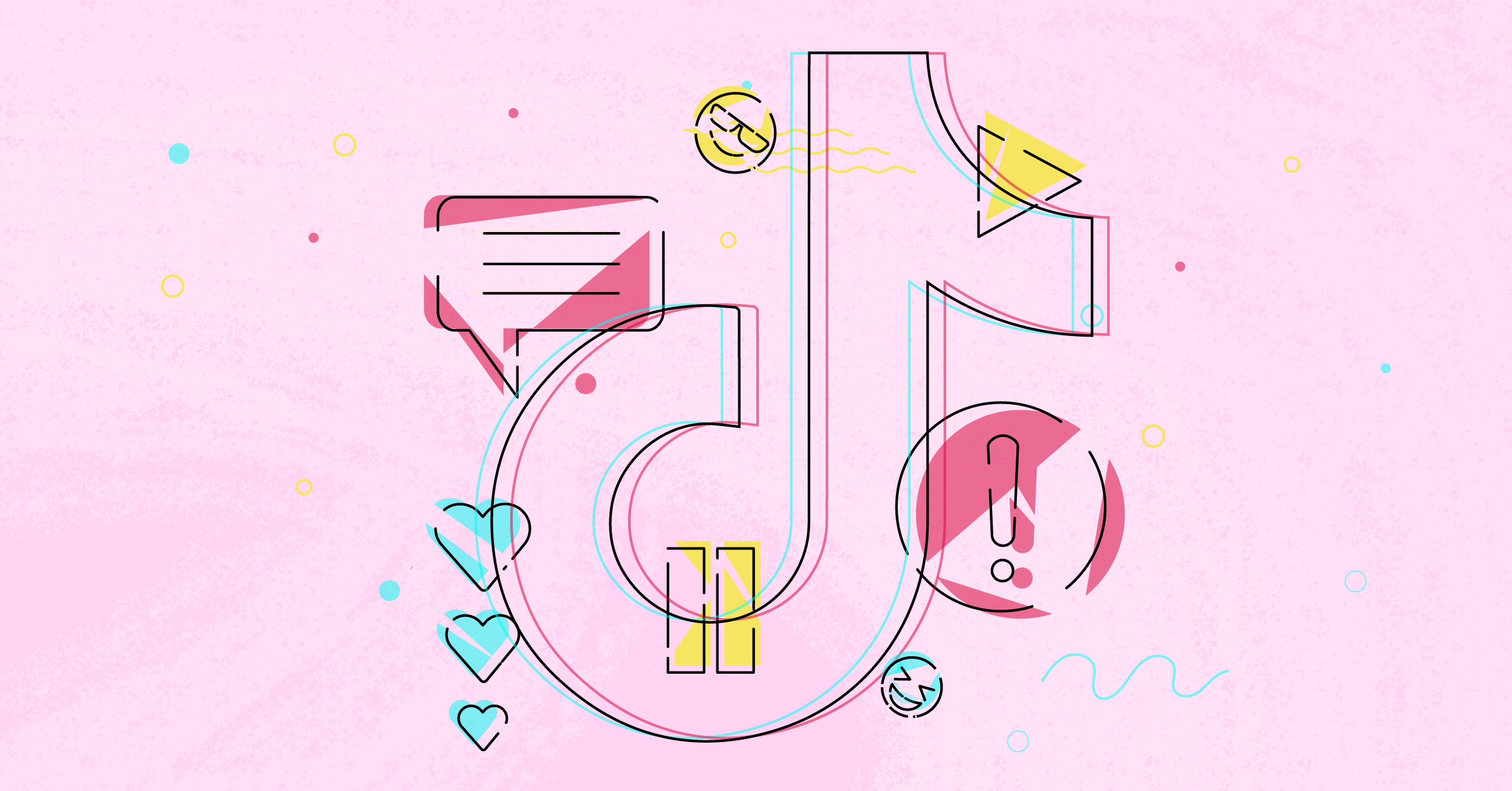 The TikTok logo on a bubblegum pink background