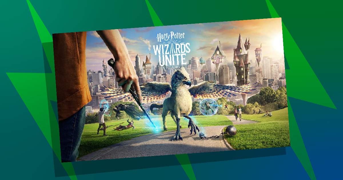 Wizards Unite poster on background