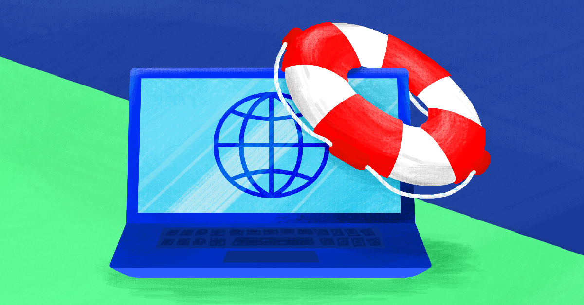 A laptop with a life preserver hanging off of its corner