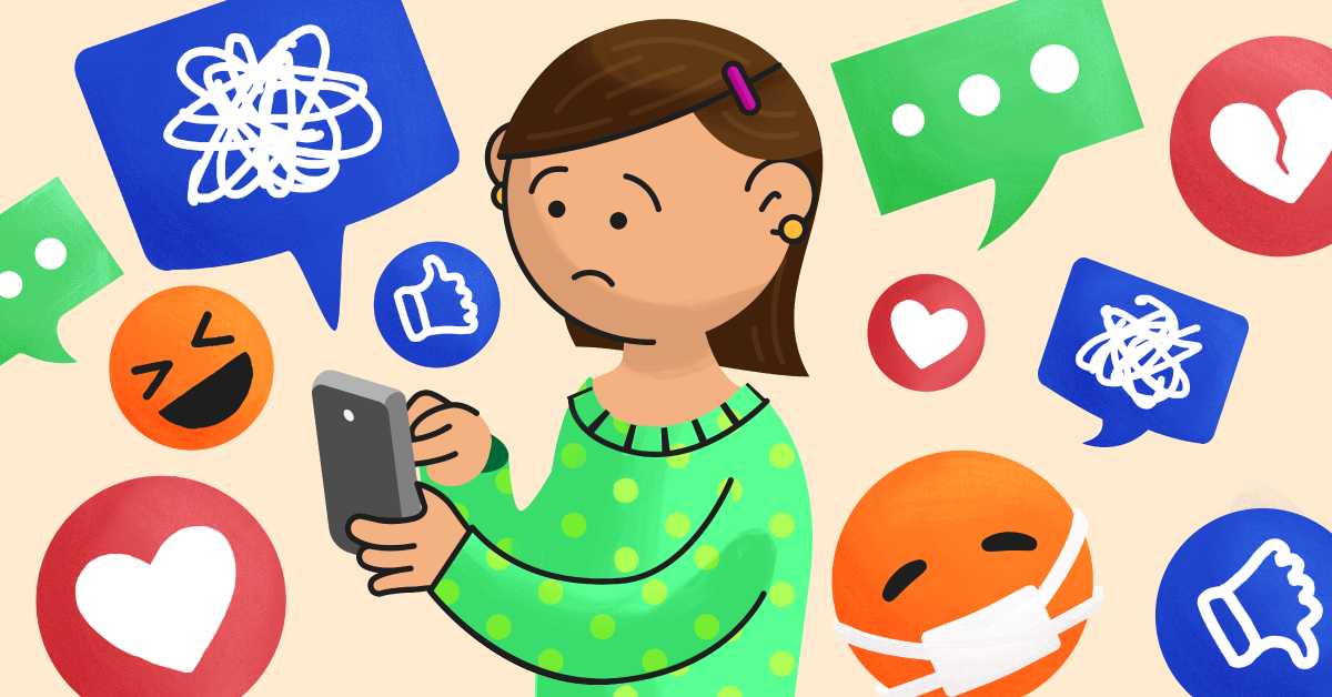 A girl holding a phone is surrounded by text bubbles and emojis