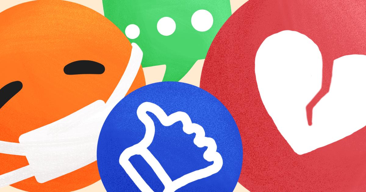 Various multicolored emojis