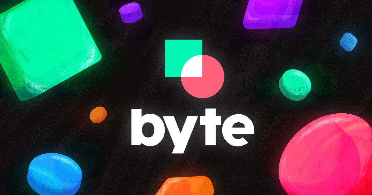 The Byte app logo with colorful shapes around it
