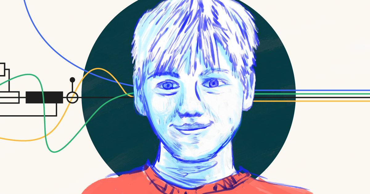 A sketch portrait of a child with technological designs in the background