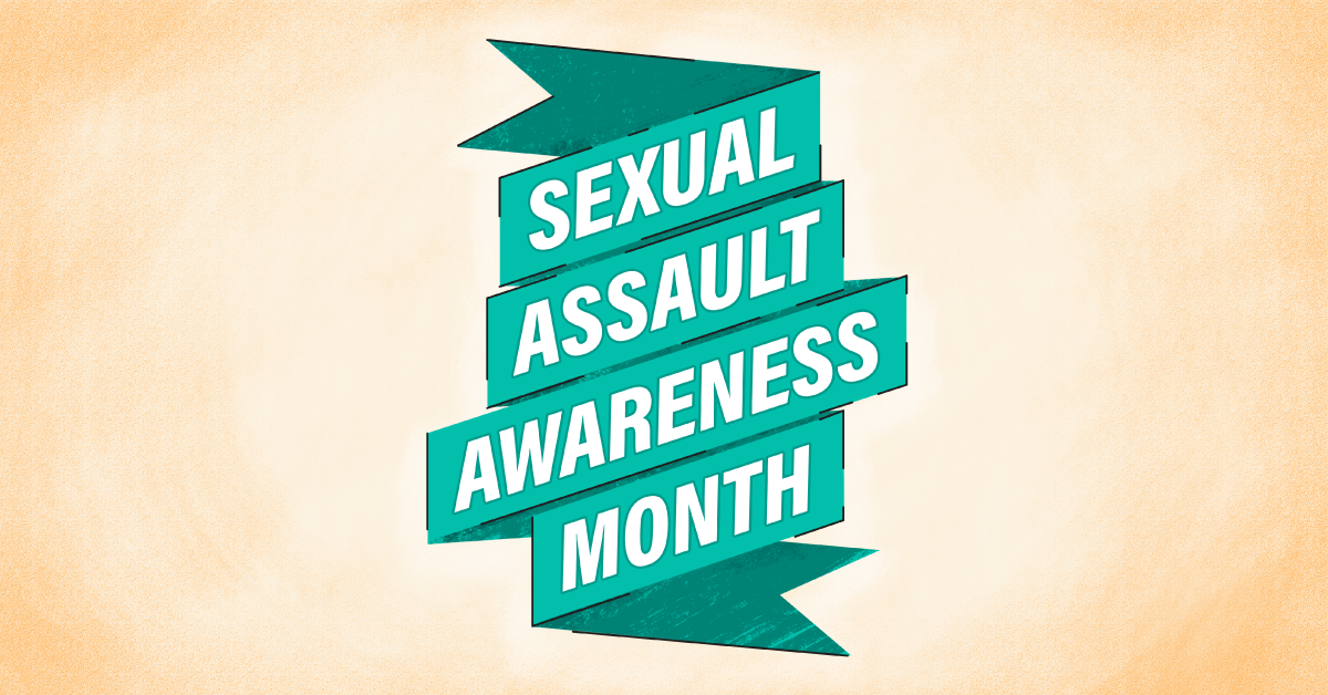 Green ribbon that reads 'sexual assault awareness month' on a yellow background