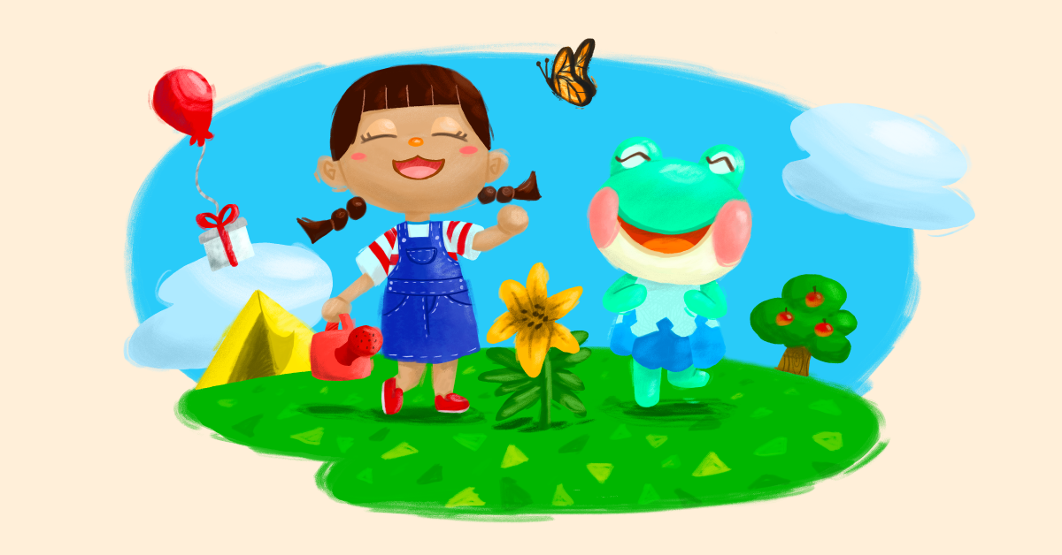 A young girl and a frog smiling in a sunny meadow