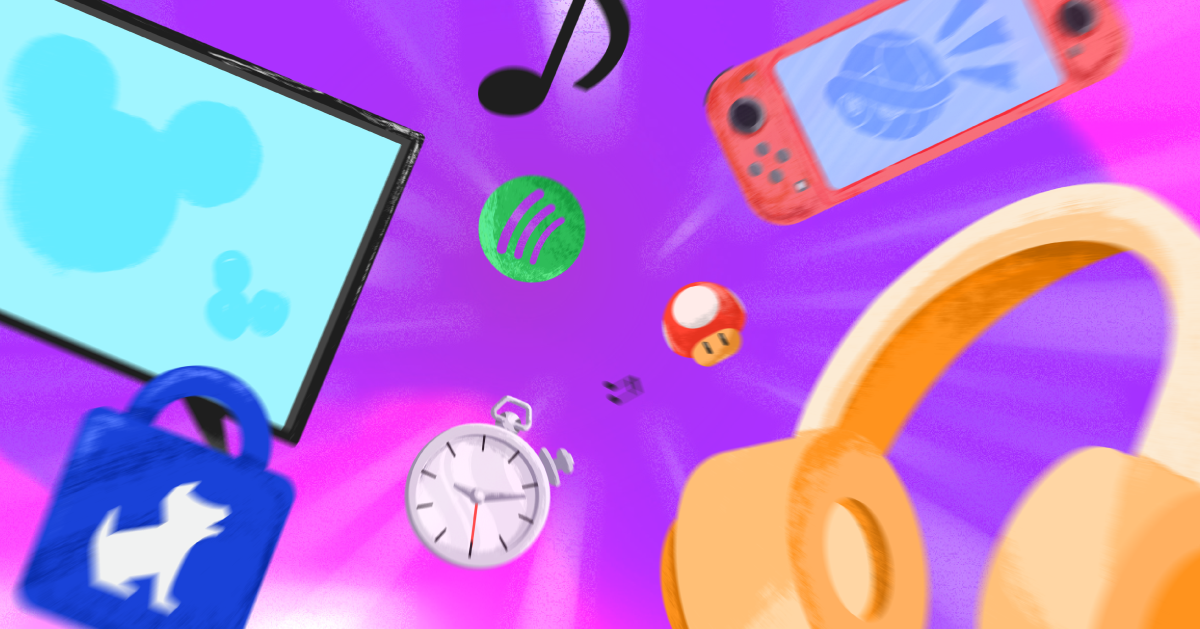 Various devices and apps in motion on a bright purple background