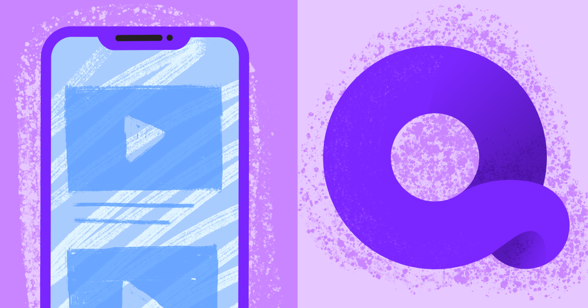The Quibi logo beside an illustration of a smartphone