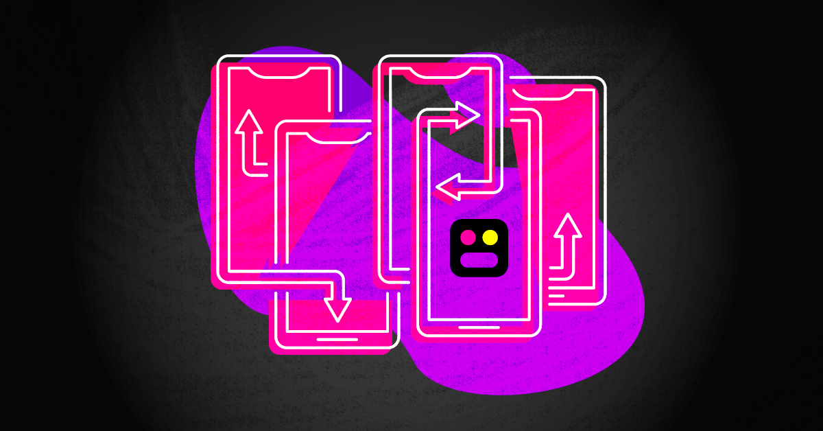 The squad logo in front of several hot pink and purple phone outlines