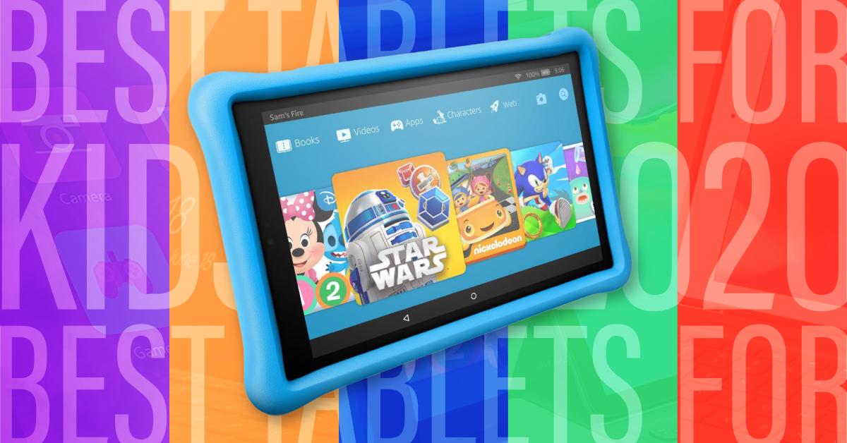 A kid's tablet against a rainbow background