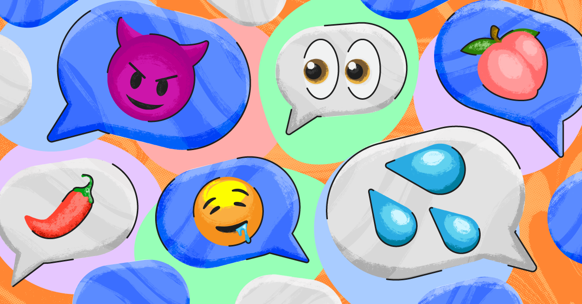 Some brightly colored emojis that may have surprising or inappropriate meanings