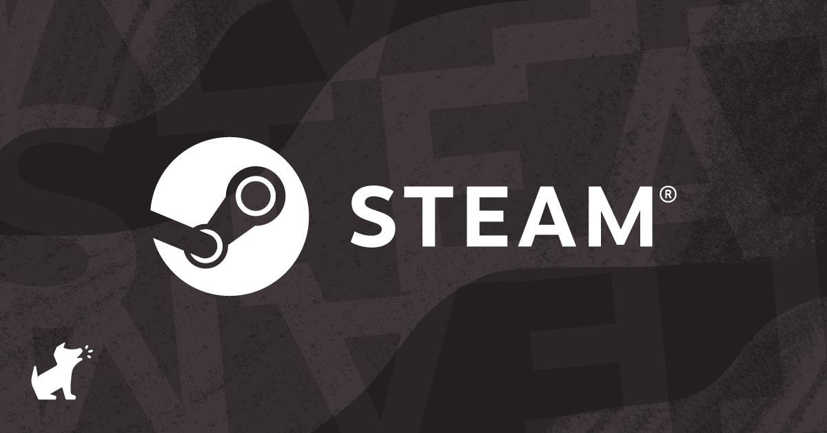 The Steam logo against a charcoal grey background