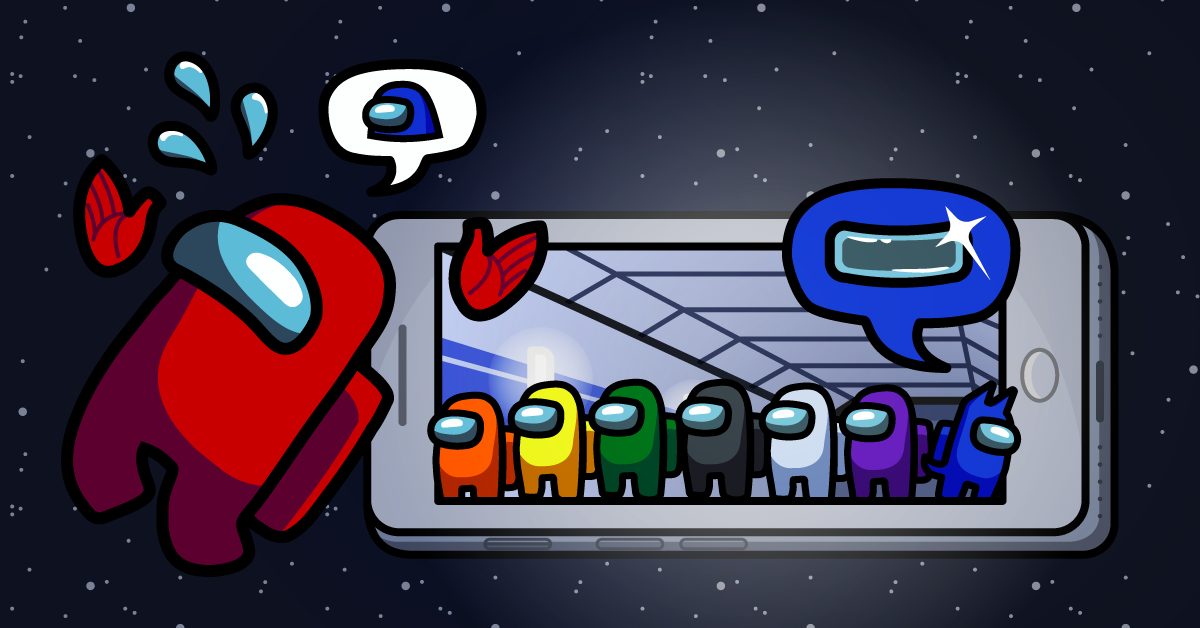 Multicolored characters from Among Us coming out of a phone with a spaceship theme