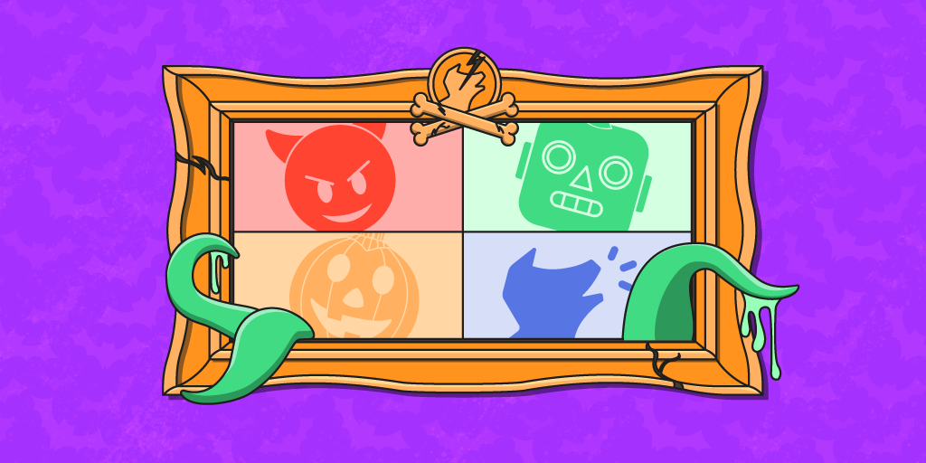 spooky emojis in a picture frame on a purple background