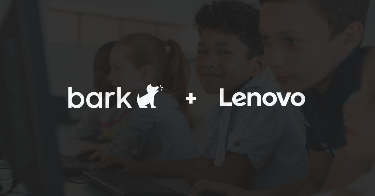 The Bark and Lenovo logos on a black background